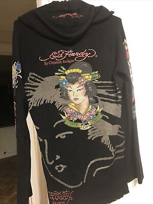 Ed Hardy Hoodie Ladies Size 12/14- Knitted • 40£