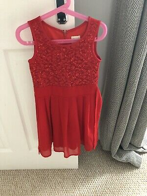 Girls Red Sequin Party Dress Yumi Girl Age 5-6 Years • 3£