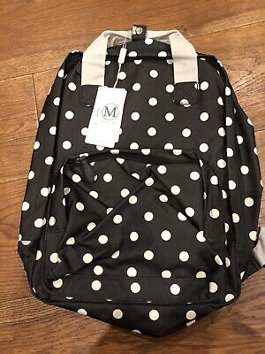 Black Matt Polkadot Oilcloth Rucksack Bag Lulu Bags New With Tags • 20£