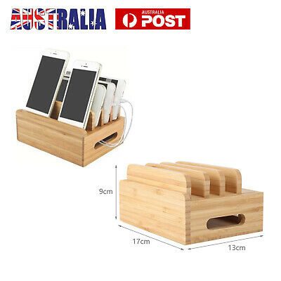 AU10.99 • Buy Bamboo Charging Dock Station Charger Holder Multi-Device Stand For Smartphone AU