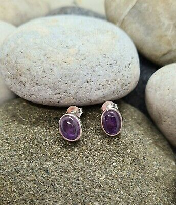 Oval Amethyst Sterling Silver (925) Stud Earrings - NEW, UK Seller • 10£