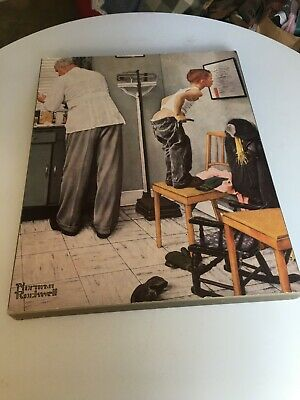 $ CDN52.36 • Buy Norman Rockwell  At The Doctor's   Print ON WOOD BASE-BEFORE THE SHOT-RARE-EUC