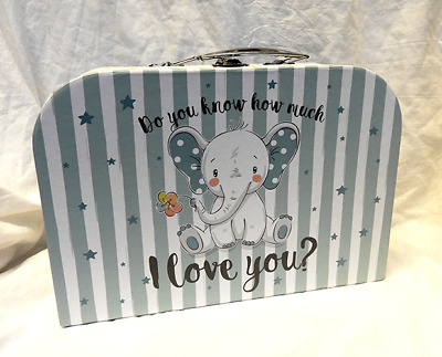 Do You Know How Much I Love You ? Suitcase Style Storage Box - Blue - (s)  BNWT • 5.99£