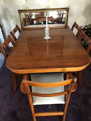 Yew Dining Table (sits Up To 8 People) And 4 Regular Chairs And 2 Carver Chairs • 100£