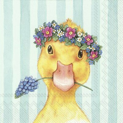 4 X Single Paper Napkins/3 Ply/Decoupage/Easter Friends Chick • 1.25£