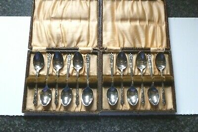 Vintage Set Of 6 Apostle EPNS Silver Plated Coffee Spoons In Original Box X2 • 10£