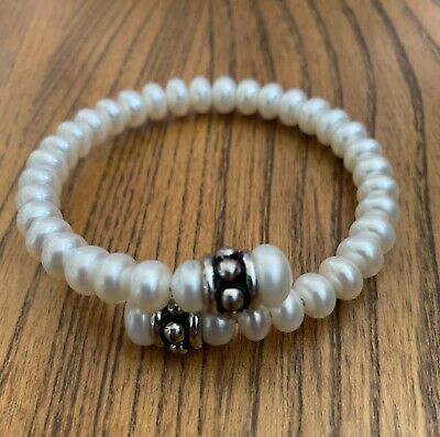$40 • Buy Honora Mabe Pearl Stretch Bracelet Sterling Silver