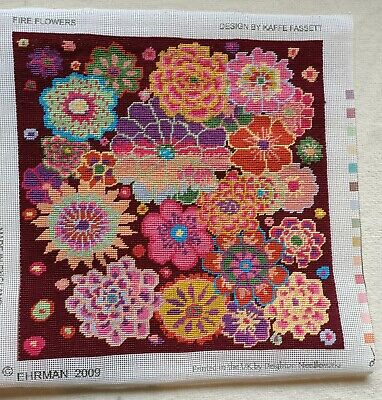 Ehrman 2009 Fire Flowers Tapestry Design By Kaffe Fassett - Completed • 7.99£