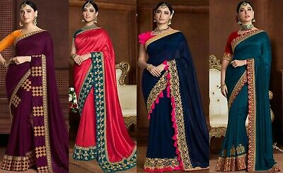 Beautiful Embroidery Saree Party Wear Indian Heavy Lace Border Work Sari Blouse • 23.78£
