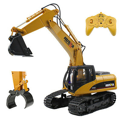 2 In 1 Die Cast RC Excavator Digger Truck With Extra Claw Timber Grab 2.4GHz Toy • 50.99£