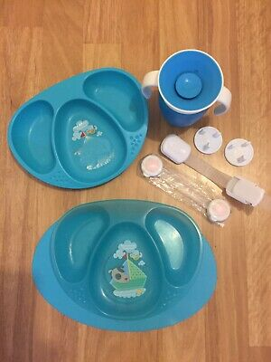 TOMMEE TIPPEE MAGIC MAT Plate Suction Holder + 2 Plates + Munchkin Cup + Others • 3£