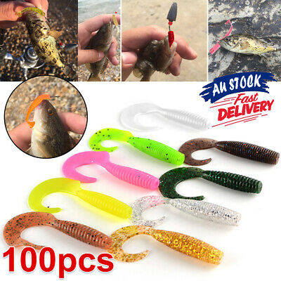 AU8.49 • Buy 100 Bream Tackle Lures Fishing Lure 35mm Plastic Paddle Tail Worm Grub Soft Bass