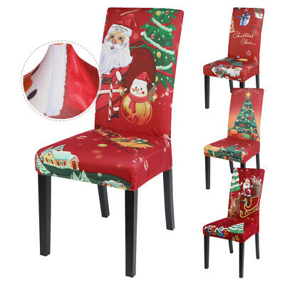 4/6* Dining Chair Seat Covers Christmas Party Removable Decor Slip Stretch Xmas~ • 3.79£