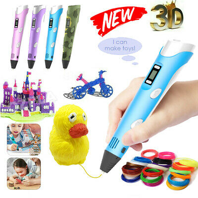AU18.18 • Buy 3D Printing Pen Drawing Crafting Art Printer PLA ABS LCD Screen Free Filaments