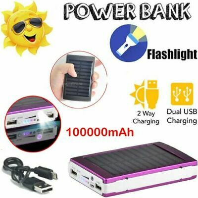 100000mAh Solar Power Bank Panel 2 USB Portable Pack Charger For Mobile Phone • 12.98£