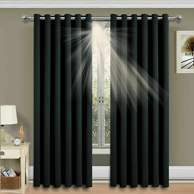 66  X 72  Thermal Blackout Curtains Eyelet Ring Top Pair Curtains +Tie Backs 5 • 17.97£