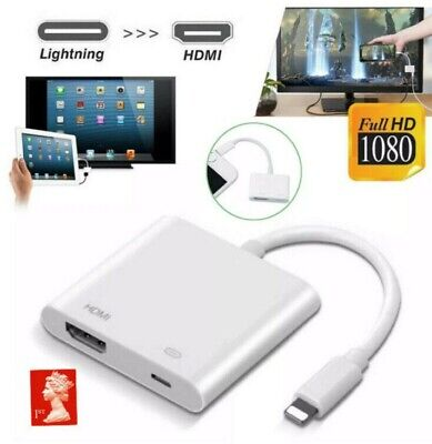 For IPad IPhone 12 11 X XS 8 Plus Lightning To HDMI Adapter Digital TV AV Cable • 7.99£