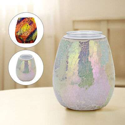 Glass Aromatherapy Night Light Wax Oil Melting Burner Heating Mosaic Pattern • 13.99£