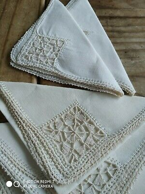 6 VINTAGE Small Cream Linen Napkins, Embroidery Openwork Christmas 🎄L3 READ • 5£