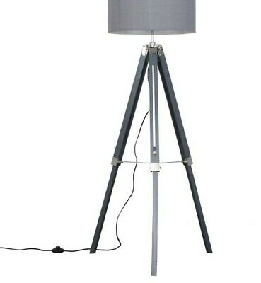 CLIPPER GREY AND CHROME TRIPOD FLOOR Lamp With Adjustable Height Grey Wooden  • 22£