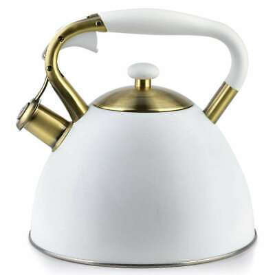 Whistling Kettle 3 L Stainless Steel  Induction  Stove Top Gas White Gold  • 21.90£