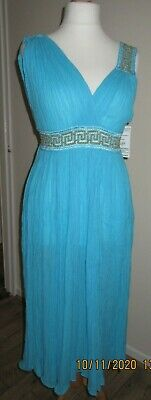 Grecian Dress, Turquoise, Size 12 • 9£