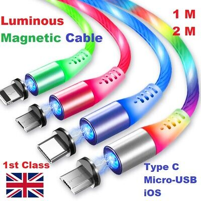 🇬🇧MAGNETIC LED Flowing Light Up Fast Charge USB Cable IPhone/Android/Type C • 6.99£