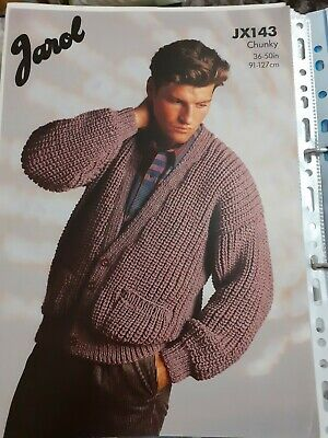 Knitting Patterns - Mens Sweater In Chunky • 1£