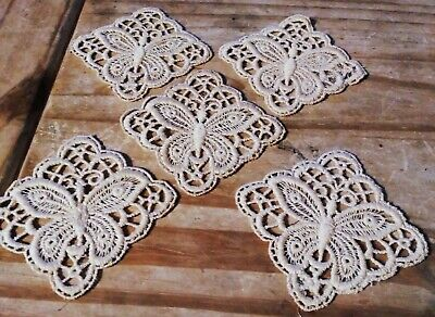5 Vintage Taupe Handmade Lace  Glass Coasters 3  X 3  Butterfly 🦋 Pattern • 7£