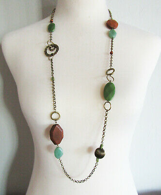 $ CDN0.13 • Buy Lia Sophia Jewelry Outback Aventurine And Wood Necklace In Antiqued Gold RV$88