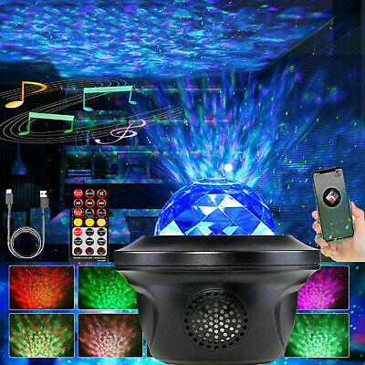 LED Galaxy Star Projector Light Lamp Water Pattern Night Lights Remote Control • 19.99£