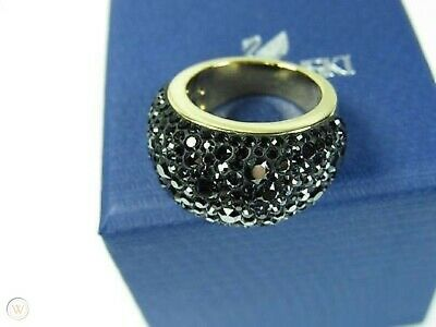 GENUINE FAB Swarovski Jewellery Mini BLACK GOLD CHIC RING – 5000890 BNIB BNWT • 41.99£