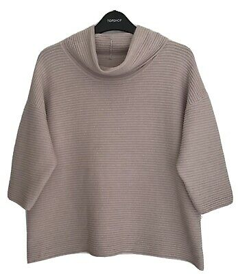 Topshop - Oversized Chunky Ribbed Roll Neck Knit Jumper / Top - Slouchy Knitwear • 4.99£