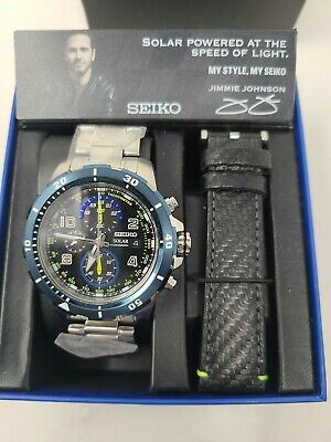 $ CDN318.96 • Buy Seiko Jimmie Johnson Solar Chrono 100m Stainless Steel Men's Watch SSC637 $450