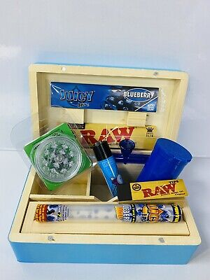 Wooden Smoking Box Gift Set-Blue With Pipe Grinder Papers Etc **Free Gift** • 19.99£