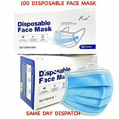 £5.49 • Buy 100 Disposable Face Mask Non Surgical 3 Ply Mouth Guard Cover Masks Protection