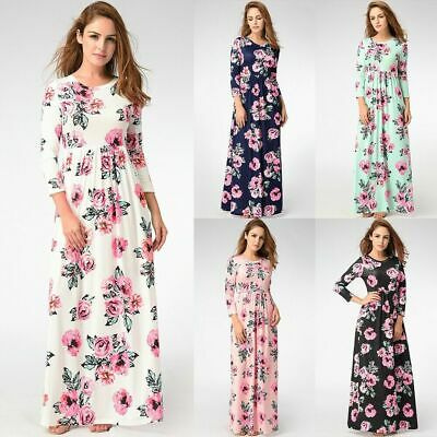 Women Floral Dresses Maxi Beach Long Seaside Holiday Bodycon Sundress Plus Size • 11.99£