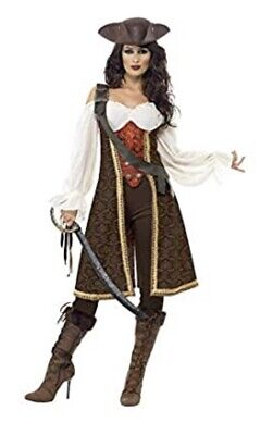 Smiffys High Seas Pirate Wench Costume, Brown - Size Small • 18.99£