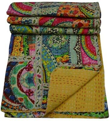 Indian Handmade Throw Reversible Bedspread Kantha Quilt Multi Patchwork Lace Ar • 25.50£