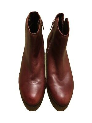 Dune Dark Tan Leather Ankle Boots Size 5 • 14.99£