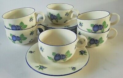 Royal Doulton Blueberry Tea / Coffee Cups And Saucers X 6 • 40£