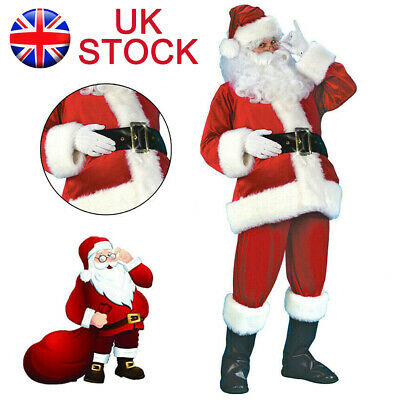 Santa Claus Costume Father Christmas Suit Mens Adult Fancy Dress Xmas Outfit UK • 22.99£