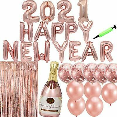 2021 Rose Gold Happy New Year Eve Party Decorations, Balloon Banner, 3.3 X 6.6 • 15.99£