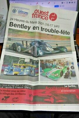 Original Le Mans Newspaper 2001 - Bentley Speed 8 On Front Page - Ouest France • 7.50£