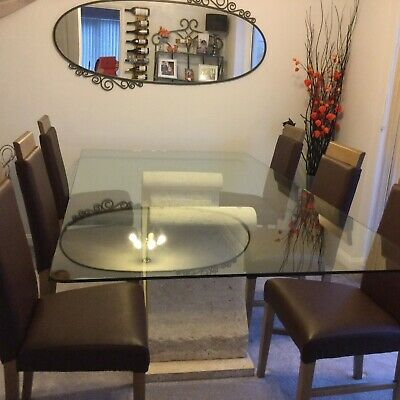 Glass Dining Table With Stone Effect Base & 6 Chairs • 350£