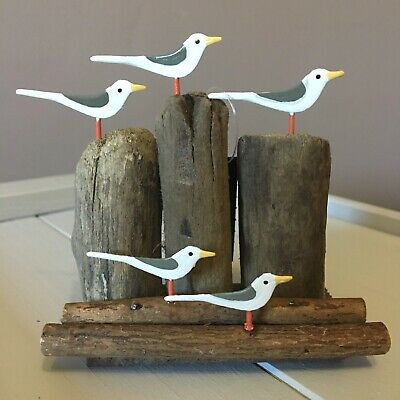 Look Out Gulls On Posts. Seagull Ornament By Shoeless Joe. Seaside Home Decor • 7.99£