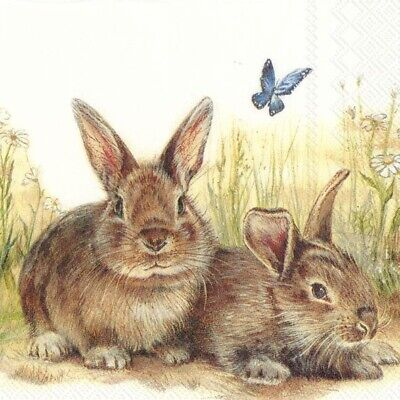 4xSingle Paper Table Napkin/3-Ply/33cm/Decoupage/Easter/Rabbits/Bunny And Clyde  • 1.25£