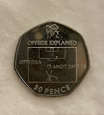 Olympic 50p Football Offside Rule Fifty Pence Circulated 2011 • 13.50£