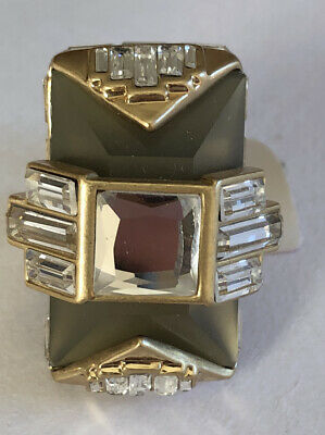 $ CDN14.52 • Buy New Lia Sophia Red Carpet Collection Gold Statement Ring Cut Crystals Size 6