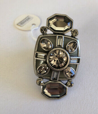 $ CDN14.52 • Buy New Lia Sophia Red Carpet Collection Silver Statement Ring Cut Crystals Size 6